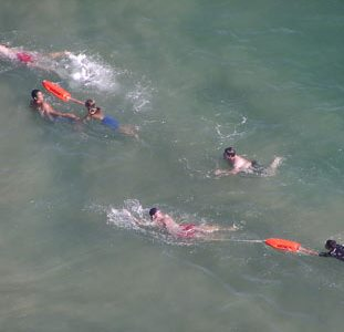 How can people assist others who are caught in a Rip Current? :: Get help from life guards is one option.